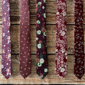 ⚜️HP⚜️ Men's Marsala Mix Floral Necktie Gift Set